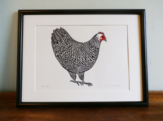hen linocut print - lino print - block print - signed limited edition of 50 - free postage in UK - hand printed - printmaking - Kat Lendacka