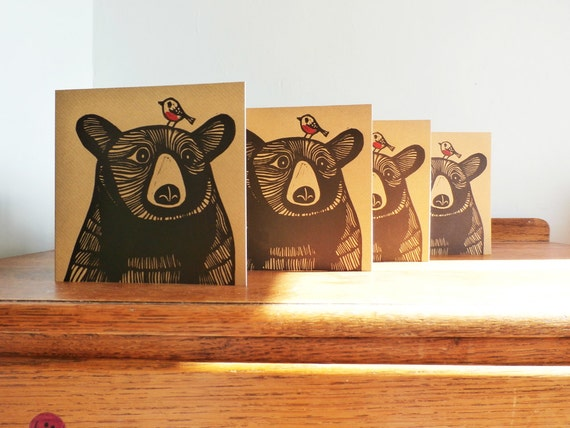 Linocut Cards Set of 4, Bear, Robin, Original Hand Printed Cards, Blank Greeting Cards, Brown Kraft Cards, Free Postage in UK,
