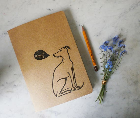 Whippet linocut, eco sketchbook, A5 Recycled Notebook, Plain White Pages, Hand Printed Linocut, Printmaking, Natural