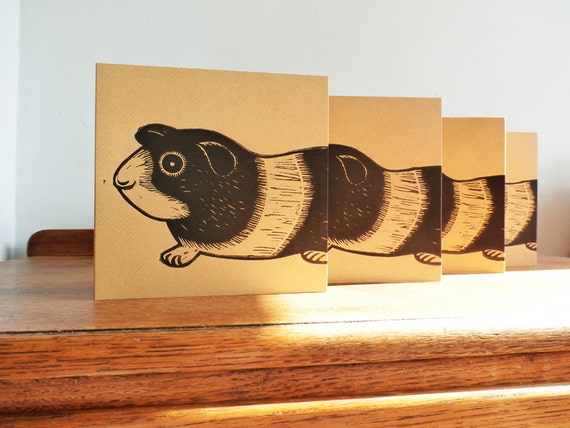 Linocut Cards Set of 4, Guinea Pig, Original Hand Printed Cards, Blank Greeting Cards, Brown Kraft Cards, Free Postage in UK,