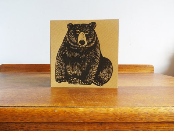 bear linocut - hand printed linocut card - Kat Lendacka - linoprint - blank greeting card - brown kraft card - free postage in UK