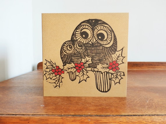 Owls in Holy, Original Hand Printed Card, Linocut Card, Blank Greeting Card, Brown Kraft Card, Free Postage in UK,