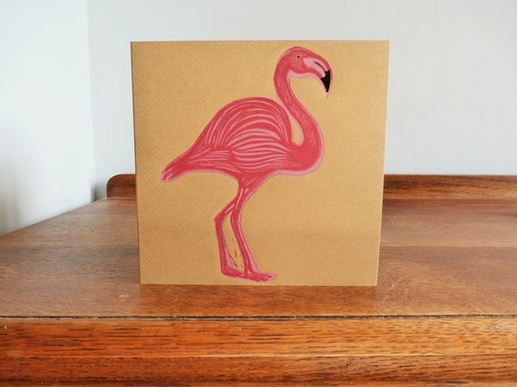 linocut greeting card - flamingo - hand printed card - linocut card - blank greeting card - brown kraft card - Kat Lendacka - free postage