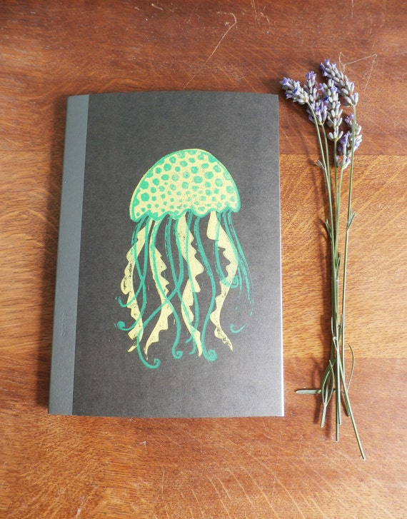 Jellyfish Notebook, MUJI, A5 Recycled Notebook, Lined, Hand Printed Linocut, Printmaking, Black, lined notebook, notebook gift,