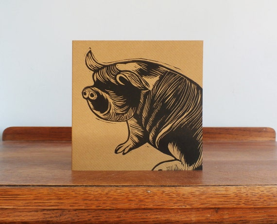 linocut card - pig linocut - animal card - original hand printed card -blank greeting card - kraft card - free postage in UK - Kat Lendacka