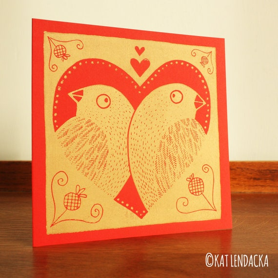 Valentine's Day - Linocut - Greeting Card - Love Birds - Hand Printed Card - Blank Greeting Card - Kraft Card - Free Postage - Kat Lendacka