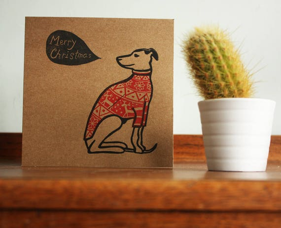 linocut greeting card - whippet in christmas jumper - Kat Lendacka - christmas blank greeting card - brown kraft card - free postage in UK