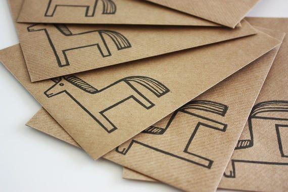 Set of 6 A6 Envelopes, Unicorn, Original Hand Printed Envelopes, Handcarved Stamp, Brown Kraft Card, Free Postage in UK,