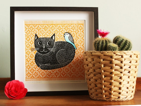 cat linocut print - black cat and budgie - ochre rug  - signed open edition Kat Lendacka - free postage in UK - block print - printmaking