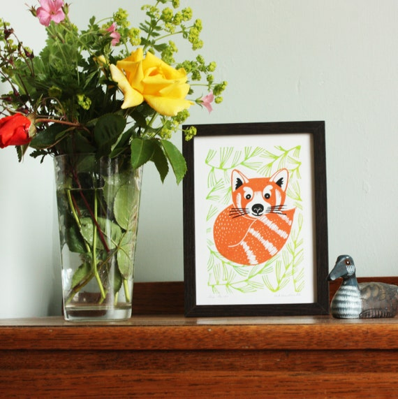 Red Panda, original linocut print, Kat Lendacka, Signed Open Edition, Free Postage in UK, Hand Pulled, block print, Printmaking, Linoprint