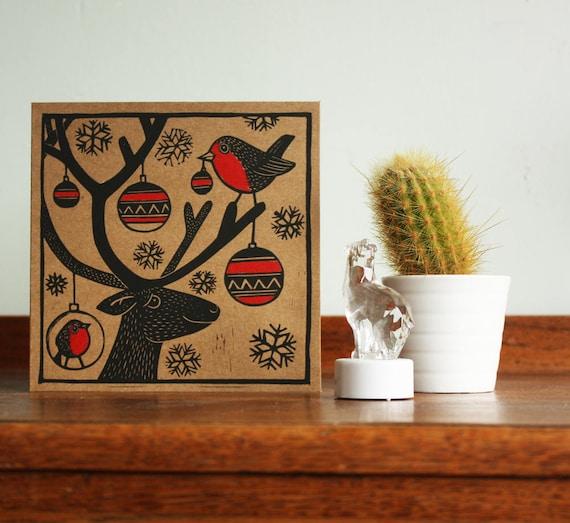 Reindeer, Robins and Baubles, Original Hand Printed Card, Christmas Linocut Card, Blank Greeting Card, Brown Kraft Card, Free Postage in UK,