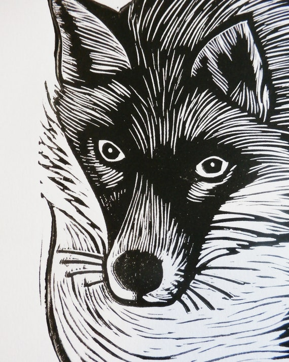 fox linocut print - lino print - block print - limited edition of 50 -  Free Postage in UK - hand printed - printmaking - Kat Lendacka