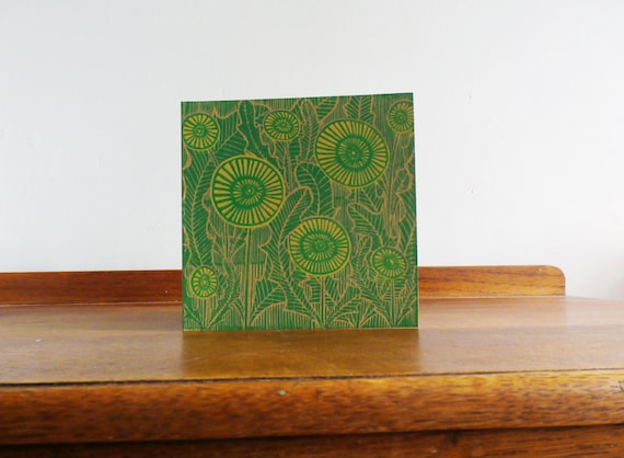 Dandelions, Valentine, Original Hand Printed Card, Linocut Card, Blank Greeting Card, Brown Kraft Card, Free Postage in UK,