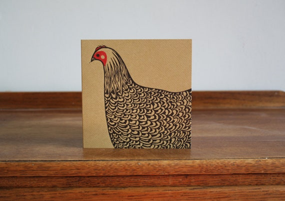 Hen, Original Hand Printed Card, Linocut Card, Blank Greeting Card, Brown Kraft Card, Free Postage in UK,