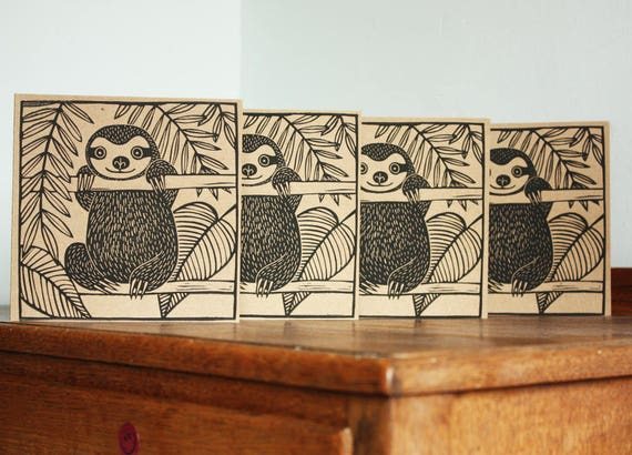 Linocut Cards Set of 4, Sloths, Original Hand Printed Cards, Blank Greeting Cards, Brown Kraft Cards, Free Postage in UK,