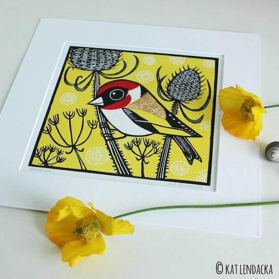 goldfinch linocut print