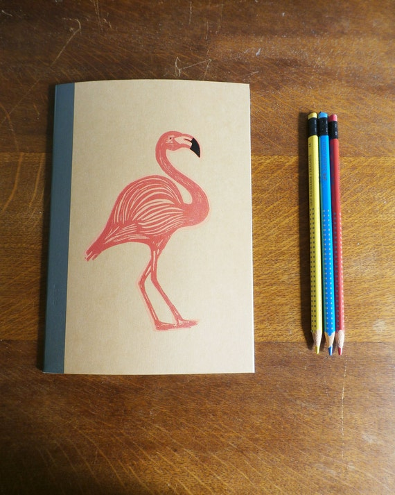 Flamingo Notebook, MUJI, A5 Recycled Notebook, Lined, Hand Printed Linocut, Printmaking, Natural, lined notebook, notebook gift,