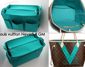 aadb28bc2f46 Taller Purse organiser 14W x 9H x 7D for Louis Vuitton Neverfull GM with  Zipper closure- Bag organizer insert in Turquoise match LV Monogram
