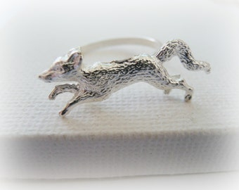 Fox ring sterling silver - Adjustable Silver Fox Ring - Fox Metalwork Sterling Silver Ring - Running Fox Jewelry
