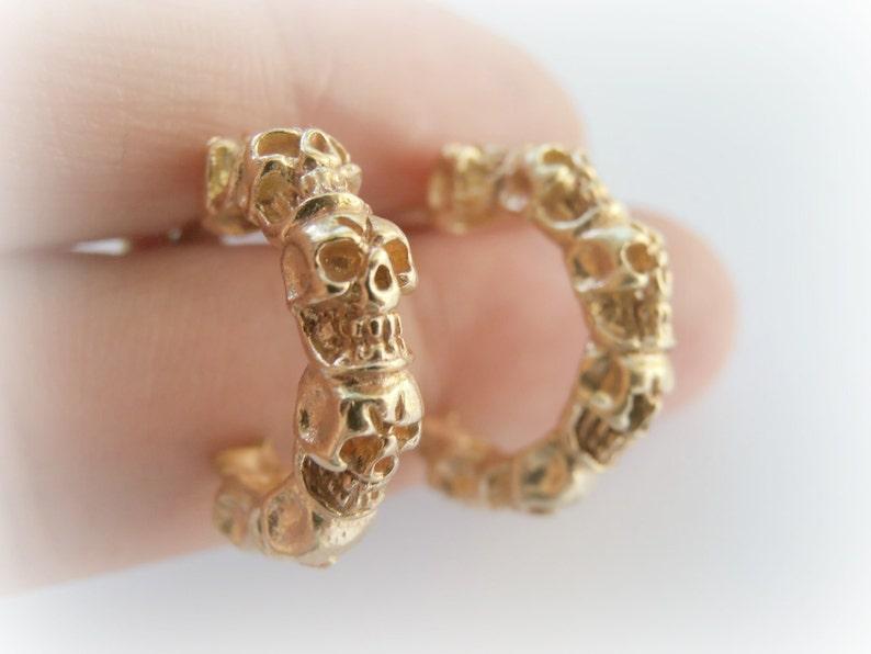 Gold Skull Studs  Halloween Skull Jewelry  Skull Studs  image 0