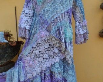 31911fcaf91 vintage inspired shabby bohemian gypsy dress ..medium to 42