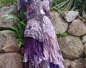 bohemian wedding boho romantic fantasy wedding M gypsy bridesmaid velvet,satin boho wildskin tattered dress woodland