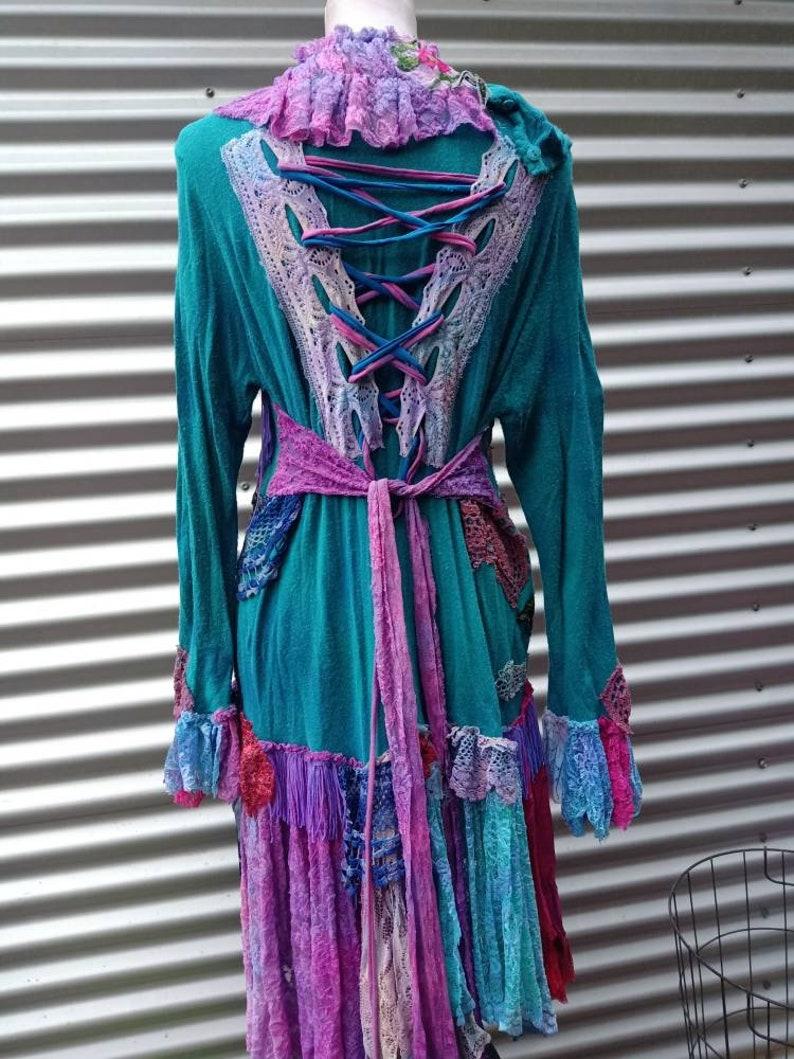 tattered M L 20/%OFF fantasy duster tattered crochet coat jacket shabby wildskin bohemian boho Gothic fairy goth stevie nicks  bohemian boho