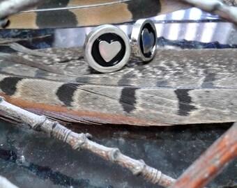 Heart stud earrings - sterling silver