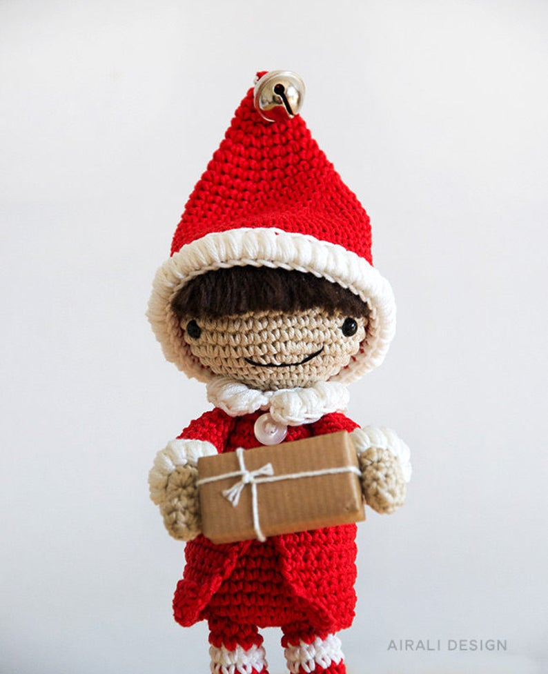 Elfo aiutante di Babbo natale con cappello a punta calze a  aa4c6da21da0