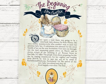 Mother goose invite etsy storybook baby shower invitation peter rabbit or mother goose childrens story book printable or printed invitations filmwisefo