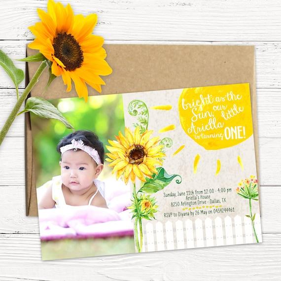 sunflower birthday invitation you are my sunshine invite etsy