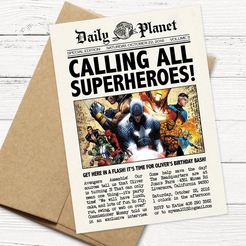 daily planet superhero newspaper birthday invitation captain | etsy