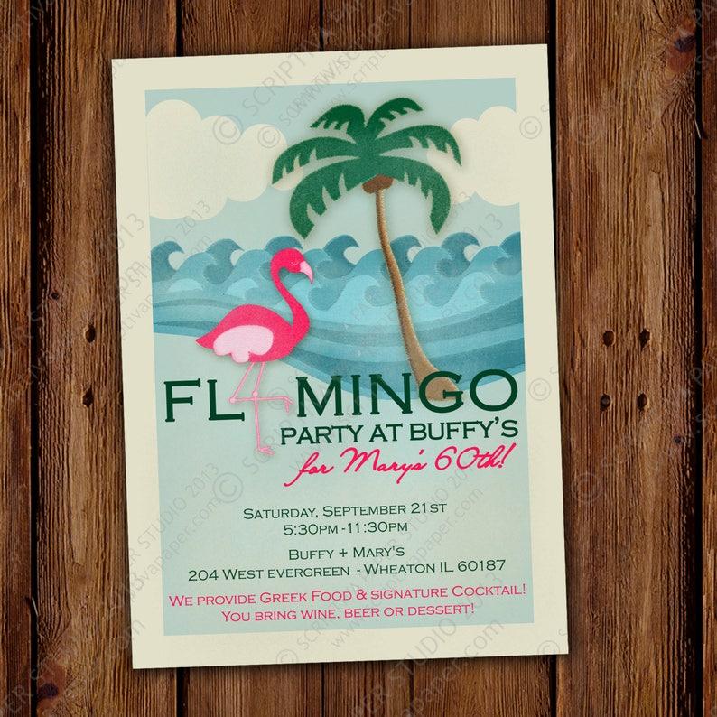 Flamingo Beach Party Invitation