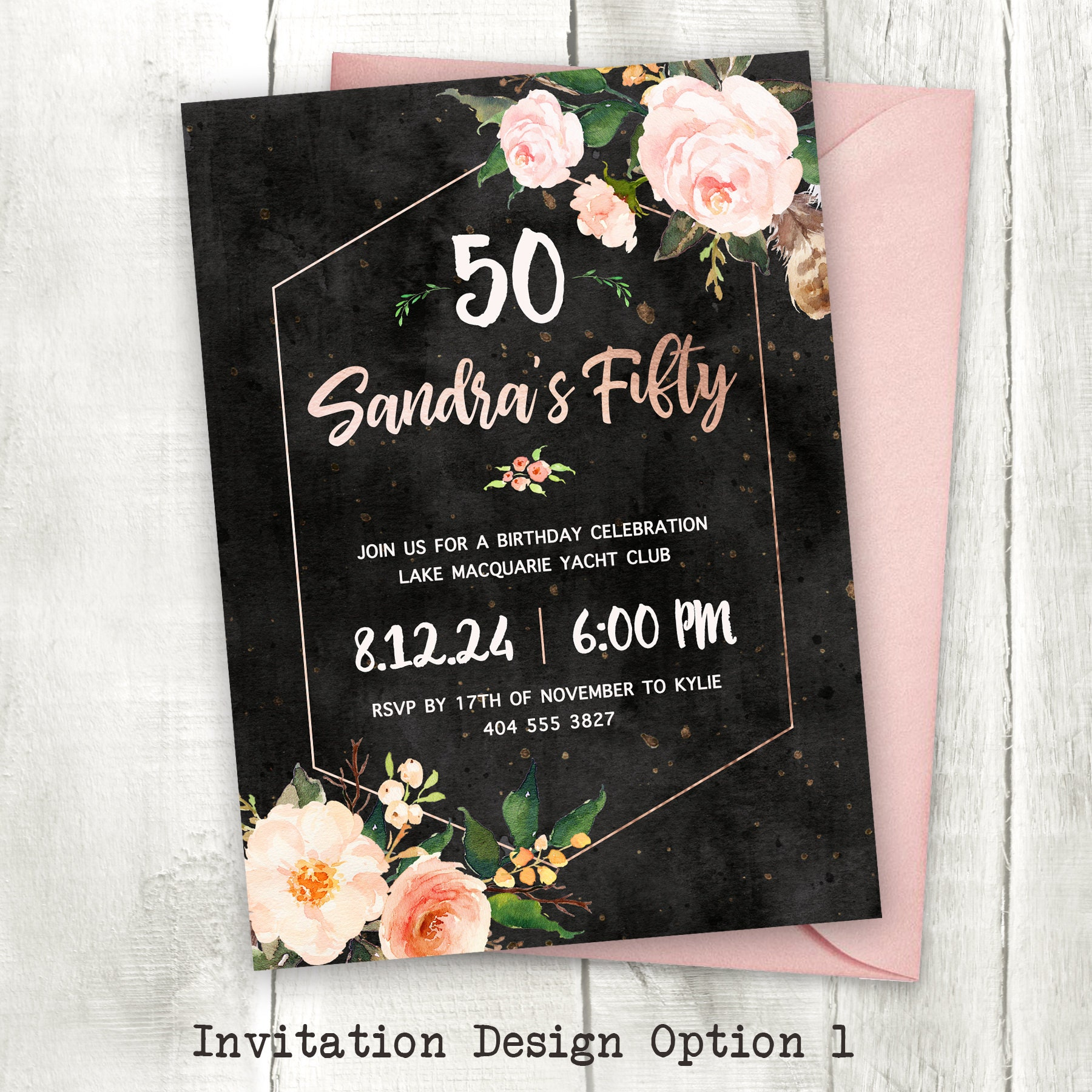 50th Birthday Party Invitation For Women Sophisticated Etsy