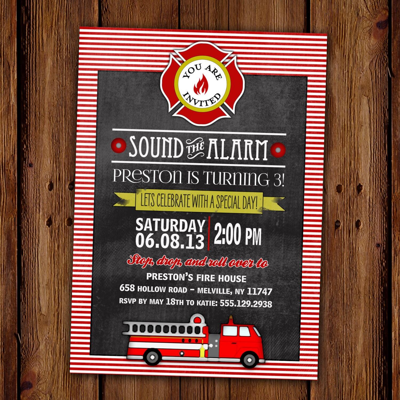 Fireman Birthday Invitation Fire Truck Birthday Fire Etsy