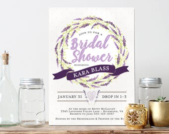 Lavender Wreath Invitation - Bridal Shower, Baby Shower, Wedding Shower, Rehearsal Dinner, Birthday Invitation