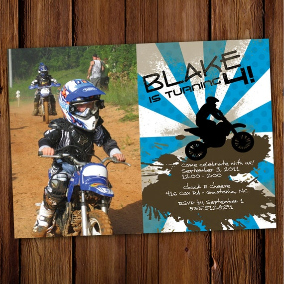 Dirt Bike Birthday Invitation ATV Motorcycle Four