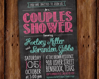 Chalkboard Couples Shower Invitation - Printable File or Printed Invitations