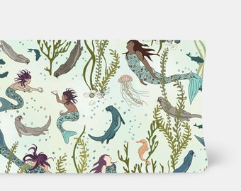 Changing Pad Cover - Mermaids and Otters in Sea - Contoured, Baby Girl Changing Pad Cover,  Mermaid Nursery Decor, Turquoise, Green, Blue