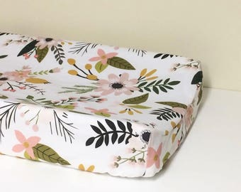 Changing Pad Cover - Sprigs and Blooms Large - Contoured, Baby Girl Changing Pad Cover, Nurser,