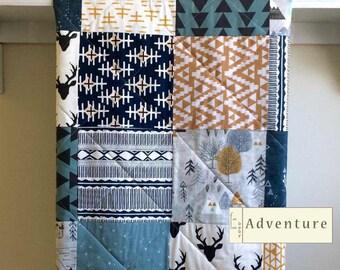 Baby Quilt Boy, Baby Blanket, Baby Quilt Handmade, Rustic Mountain Quilt, Deer, Minky Quilt, Navy Crib Bedding, Gray, Mustard - Adventure