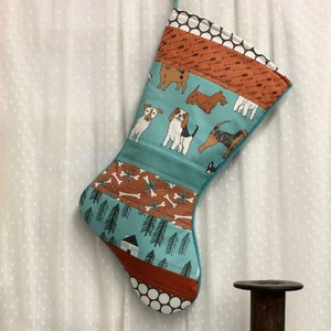 Personalized Dogs in Red Turquoise White Country Black Dog Christmas Dog Christmas Stocking Quilted Pet Stocking Rustic Farmhouse