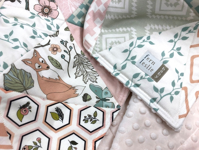Autumn Pastel Triangles Baby Quilt Handmade Pink Ivory Mint Aqua Baby Blanket Woodland Baby Girl Nursery Bedding Bear Fox Baby Bedding