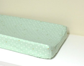 Baby Changing Pad Cover - Triangle Tokens - Arizona - Contoured - Mint, White, Gold - Baby Changer, Diaper Changing Pad Cover