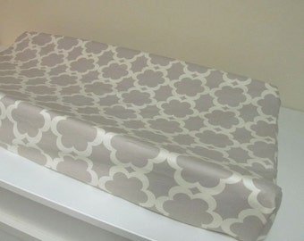 Custom Changing Pad Cover - Contoured - Taza Tarika Neutral - Grey and Ivory