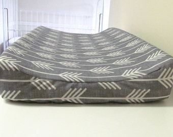 Baby Changing Pad Cover, Contoured, Grey Arrows, Bone, Grey, Gray, Baby Changer, Baby Nursery,