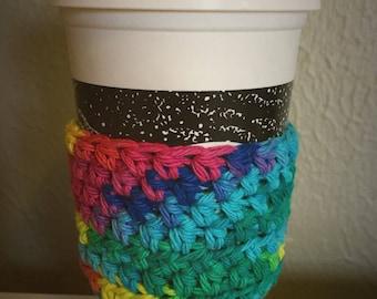 Cotton Rainbow Coffee Cozy