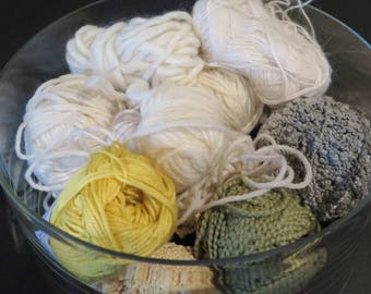 Destash Yarn Lots of Color - Primarily White - Green - Yellows - Mixture of Fibers and weights