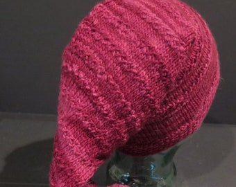 59f576af74c Hat - Shades of Red- Pom Pom Ski Like Hat - Ridges on Hat add accents - One  Size Fits Most - Hand Knit