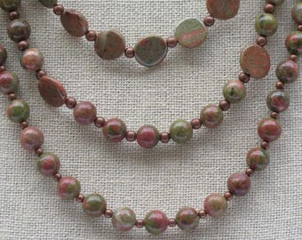 Necklace - Triple Strand Autumn Jasper Necklace and Pierced Earrings - Natural Colors - Copper Beads and Pierced Earring Wires